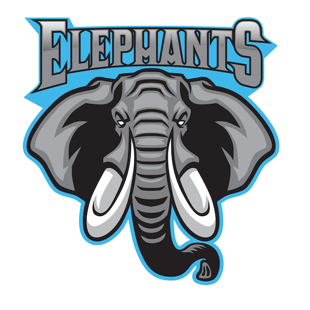 Elephant head mascot sport Premium Vector