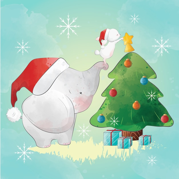 Elephant helping the bunny decorate the christmas tree Premium Vector