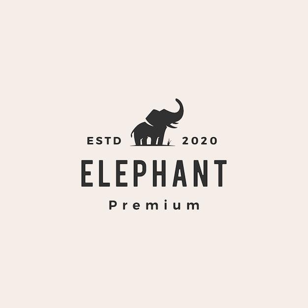 Elephant hipster vintage logo icon illustration Premium Vector
