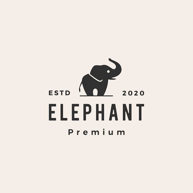 Elephant hipster vintage logo  icon illustration Premium Vector