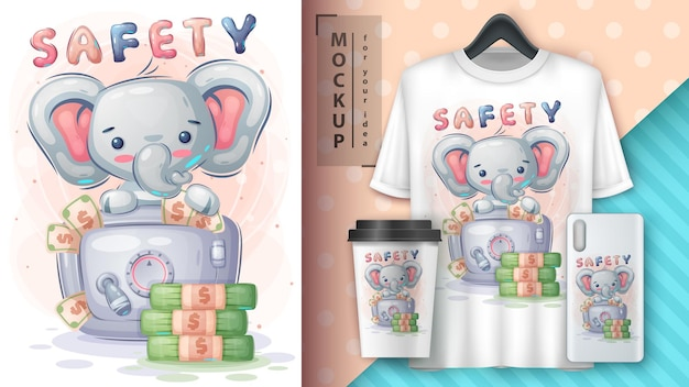 Elephant is saving money illustration and merchandising Free Vector