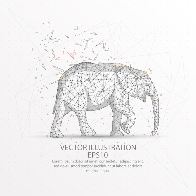 Elephant low poly wire frame. Vector | Premium Download