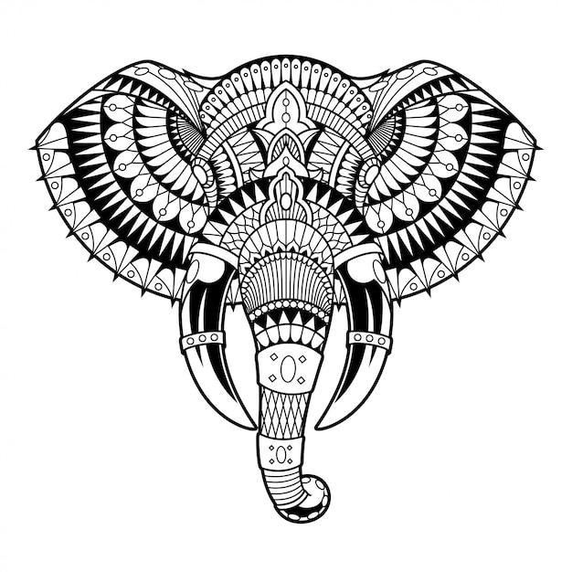 象のマンダラzentangle線形スタイル Premiumベクター