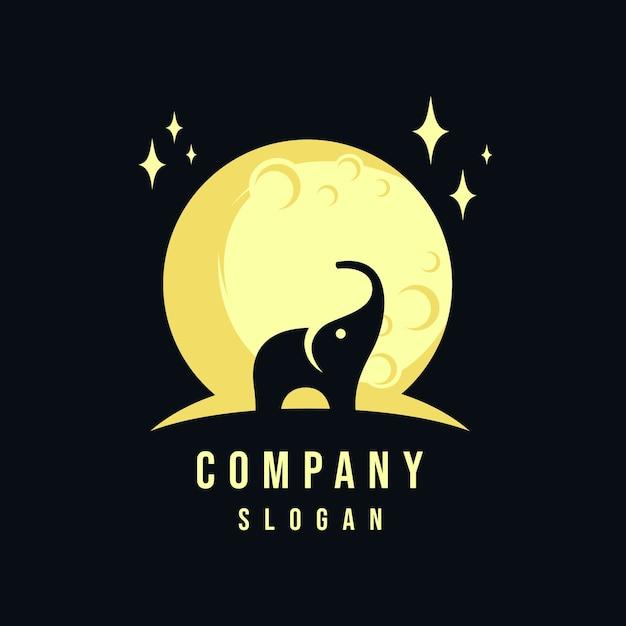 Elephant and moon logo design Premium Vector