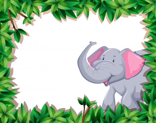 Elephant on nature border Free Vector