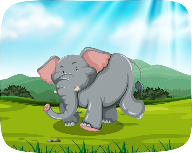 Elephant in nature scene Free Vector