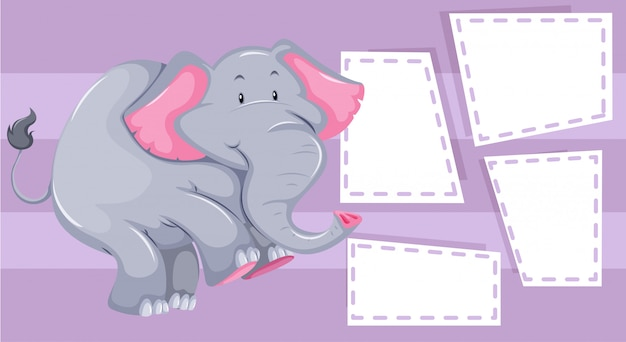 Elephant on note template Free Vector