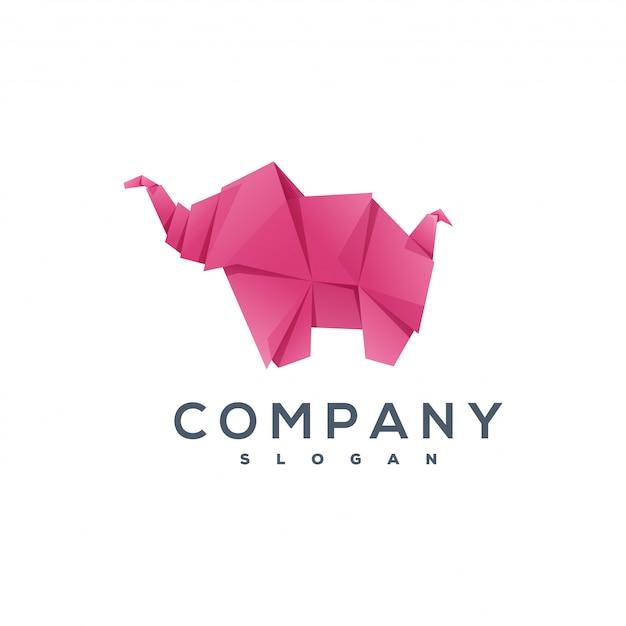 Elephant origami style logo Premium Vector