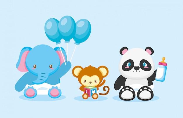 Elefante, panda e scimmia con palloncini per la carta di baby shower Vettore gratuito