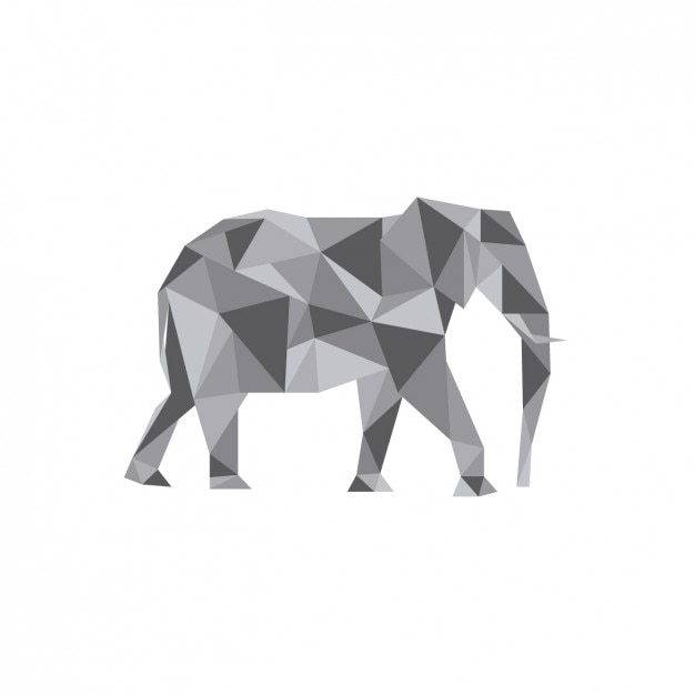 Elephant polygonal illustration Free Vector