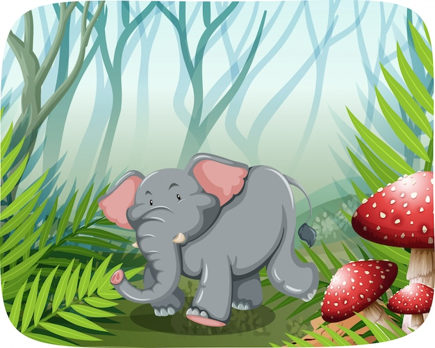 Elephant running in the wild Free Vector