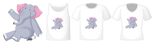 Elephant in sitting position cartoon character with many types of shirts Free Vector