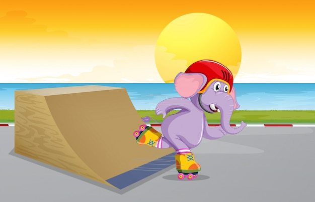 An elephant at skate park Free Vector