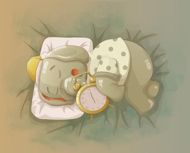 Elephant sleeps by hugging the alarm clock Premium Vector