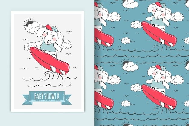 Elephant surfing illustration  and seamless pattern Free Vector
