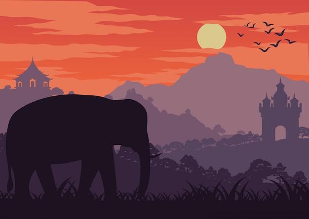 Слон символ таиланда и лаосской прогулки в лесу Premium векторы