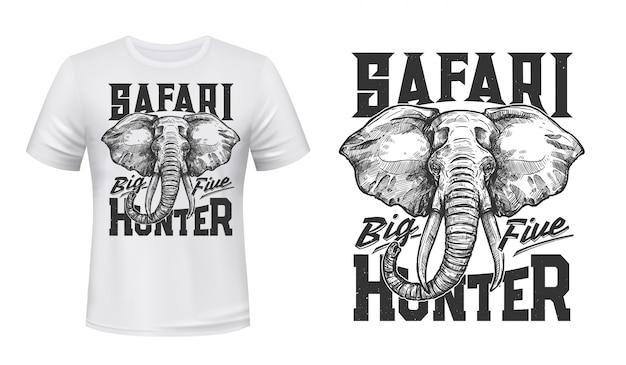 Elephant t-shirt print mockup of safari hunting Premium Vector