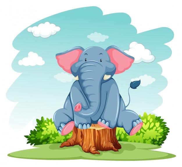 Elefante sopra il tronco Vettore gratuito