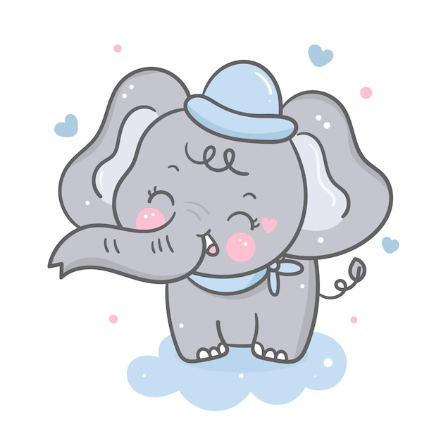 Elephant vector on cloud Premium Vector