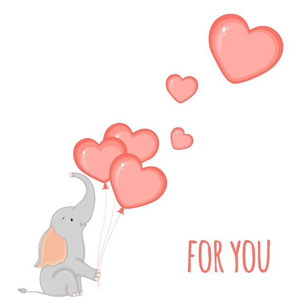 Elephant with balloons in the form of hearts Premium Vector