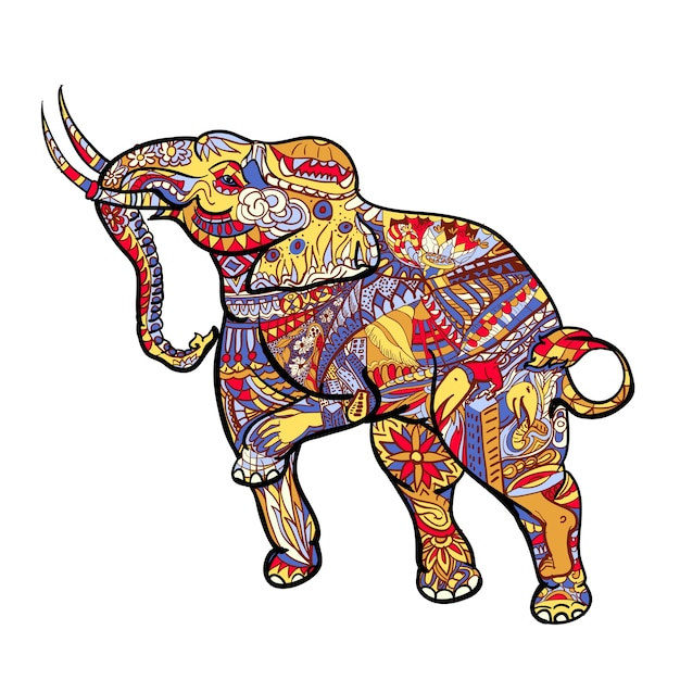 Elephant with elegant decorative pattern with posting of thai traditional art Premium Vector
