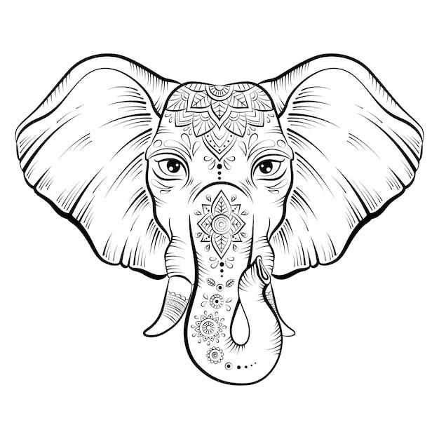 Elephant with ornate lotus mandal Premium Vector