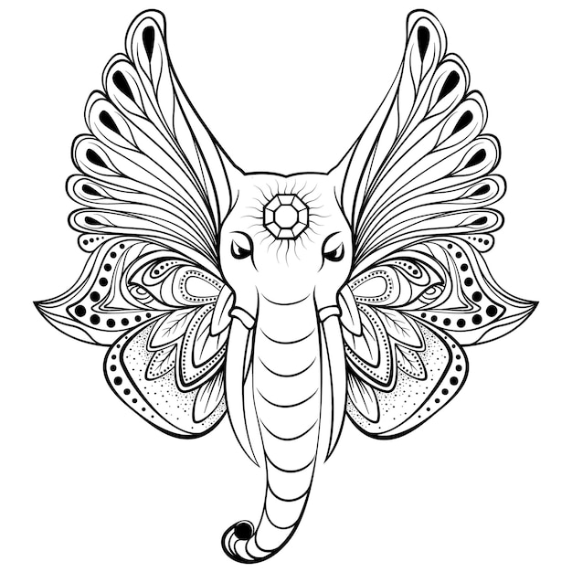 Elephant with wings instead ears. perfect for ethnic tattoo art, yoga, boho design. Premium Vector