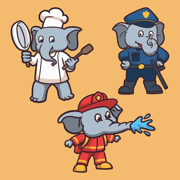 Elephant works a chef, police and firefighter animal logo mascot illustration pack Premium Vector
