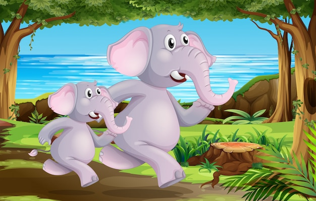 Elephants in nature scene Free Vector