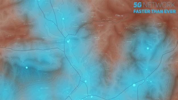 Карта высот с зонами высокого сигнала Бесплатные векторы