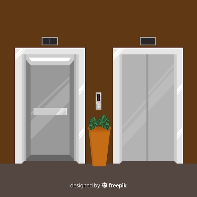 Elevator concept with open and closed door in flat style Free Vector