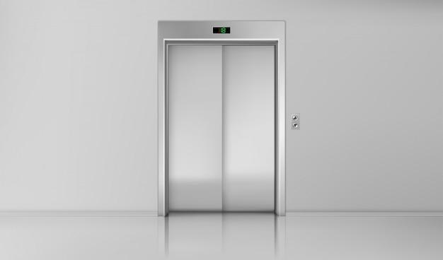 엘리베이터 문, 크롬 리프트 캐빈 입구 닫기 무료 벡터