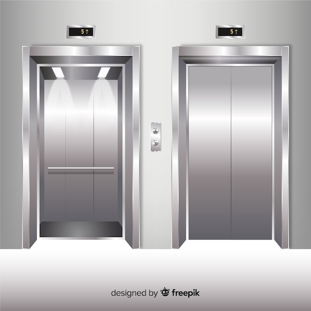 Elevator element collection with realistic design Free Vector