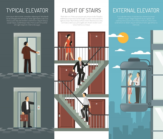 Elevator escalator stairs vertical banner set Free Vector