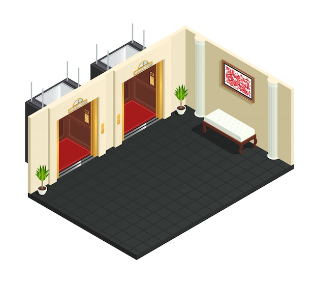 Elevator hall isometric interior composition Free Vector