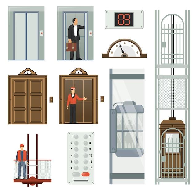 Set di icone dell'elevatore Vettore gratuito