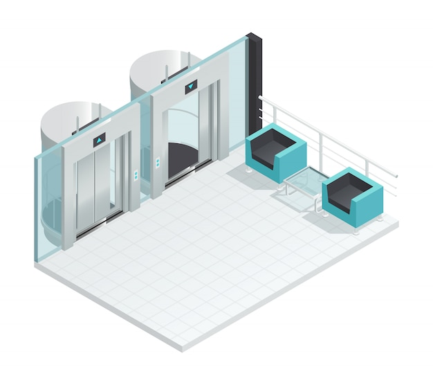 Elevator lift isometric interior with contemporary style lift hall two chairs glass partition Free Vector