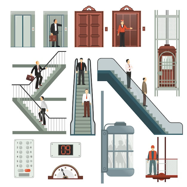 Elevator and stairs set Free Vector
