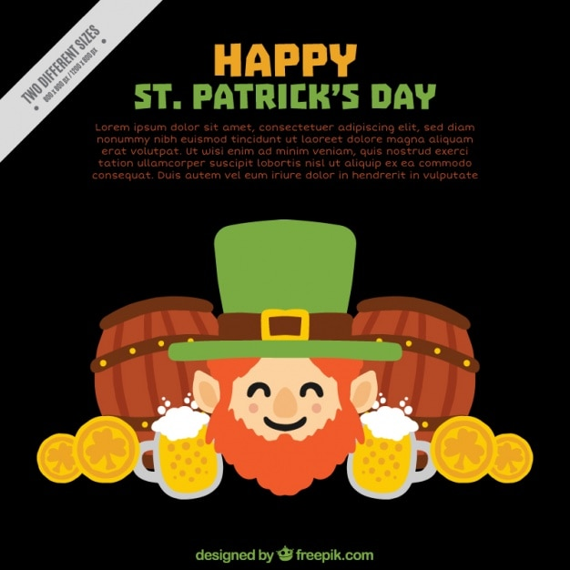 Elf background with elements of saint patrick