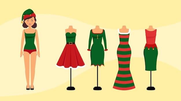 エルフの衣装女性のクリスマスドレス Premiumベクター