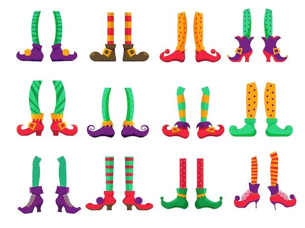 Ноги эльфа. рождественские ноги эльфа в штанах и сапогах на белом фоне. лепрекон или волшебный санта-клаус помощник карлик праздничный персонаж нога в чулках и обуви иллюстрации Premium векторы