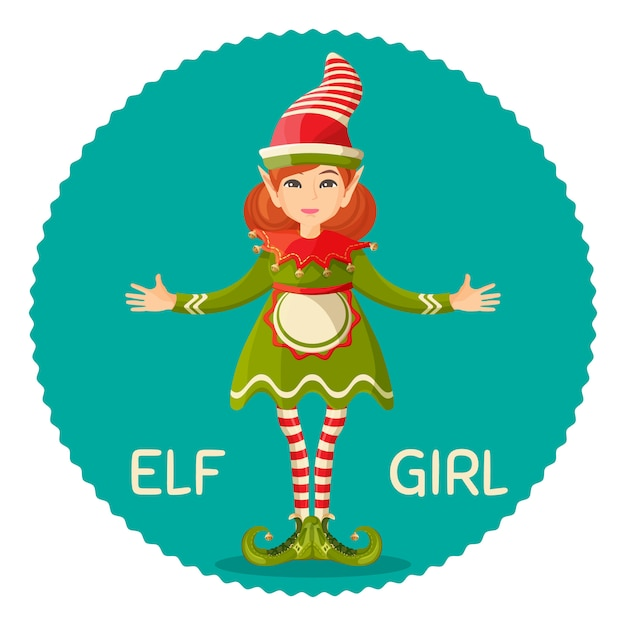 Elf girl human-shaped supernatural female being in green apparel dress and apron Premium Vector