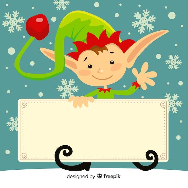 Elf holding blank sign background Free Vector