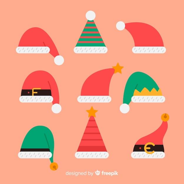 Elf santa's hats pack Free Vector