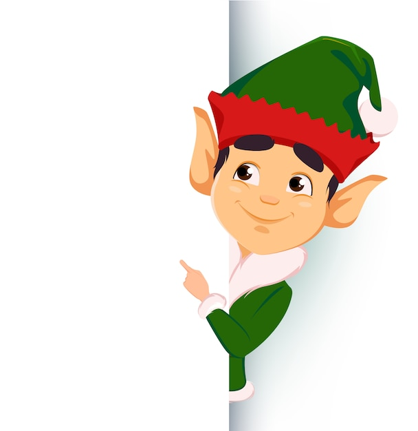 Elf standing behind a sign and showing on blank placard Premium Vector