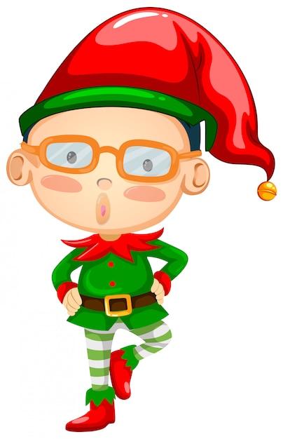 Elf wearing red hat Free Vector