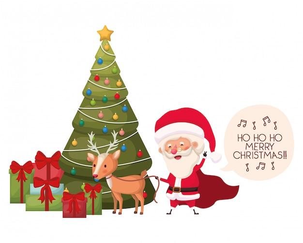 Elf with christmas tree avatar character Premium Vector