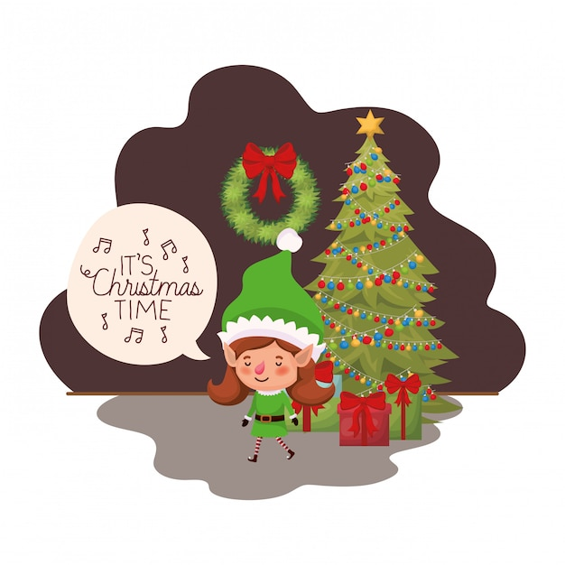 Elf woman with christmas tree and gifts Premium Vector