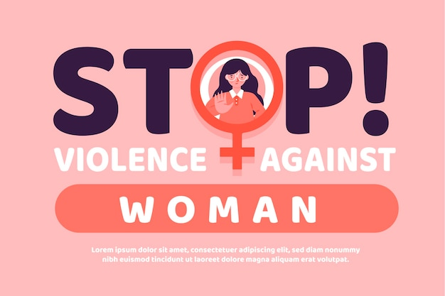 Elimination of violence against women message Free Vector