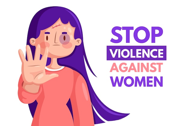 Elimination of violence against women style Premium Vector